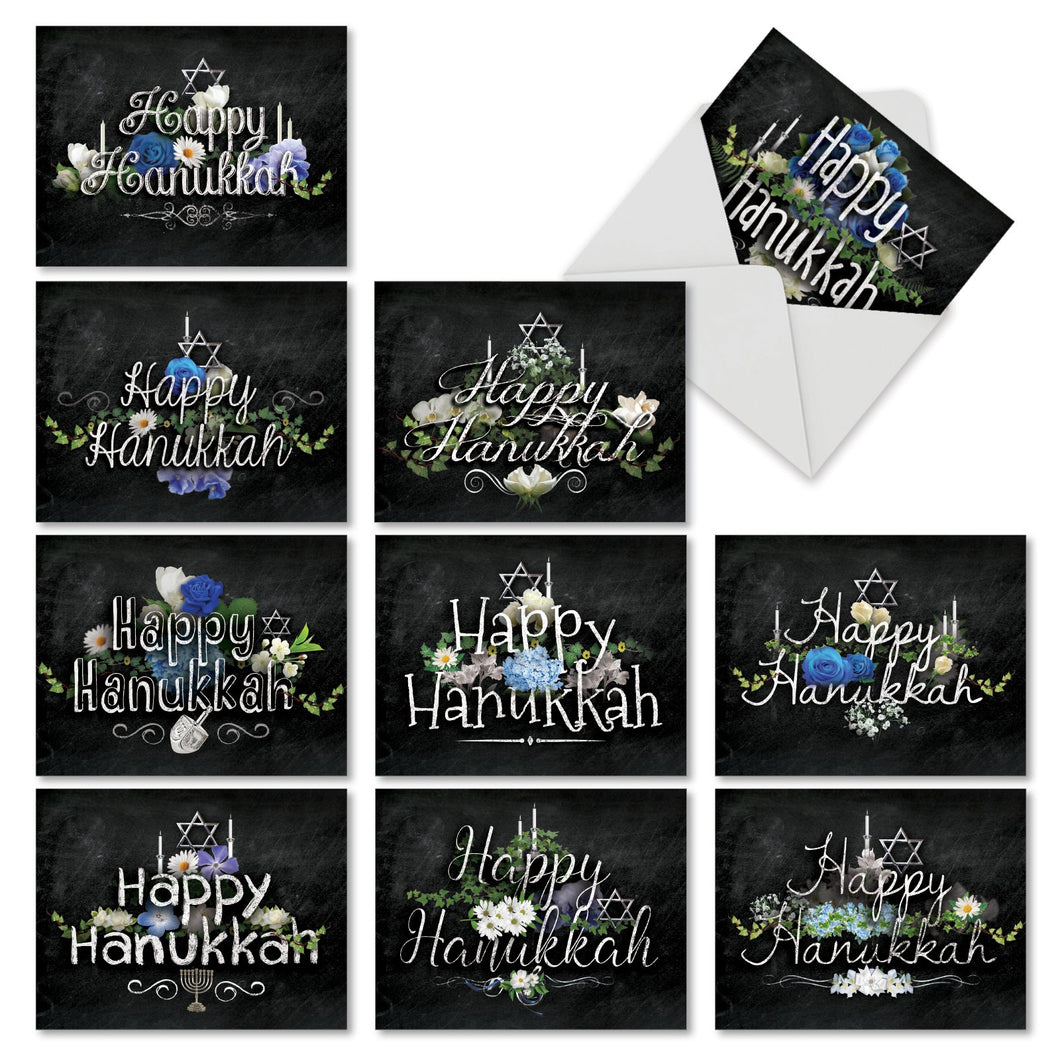 'Hanukkah Chalk And Roses' Assorted Cards (Size 4