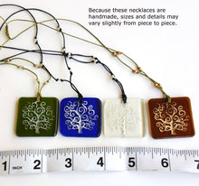 Load image into Gallery viewer, Unique Recycled Glass Tree of Life Pendant Necklace, Handmade, Fair Trade