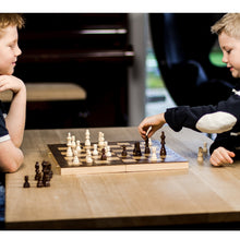 "Load image into Gallery viewer, GrowUpSmart Smart Tactics 16"" Folding Chess Set Made by FSC Certified Wood - Plus Edition with Chess Bag"