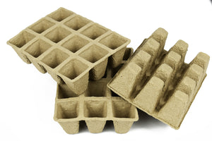 "Set of 24 Biodegradable Recycled Peat Trays  Twelve 3"" Pots ea Tray"