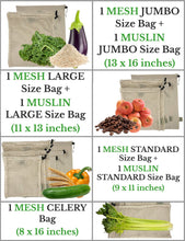 Load image into Gallery viewer, ORGANIC COTTON MESH & MUSLIN REUSABLE PRODUCE & BULK BIN BAGS  - 4 Sizes, 7 Bags