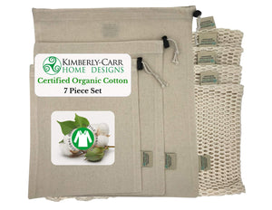 ORGANIC COTTON MESH & MUSLIN REUSABLE PRODUCE & BULK BIN BAGS  - 4 Sizes, 7 Bags