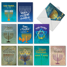 "Load image into Gallery viewer, Hanukkah Lights Greeting Cards with Envelopes - 4"" x 5.12"""