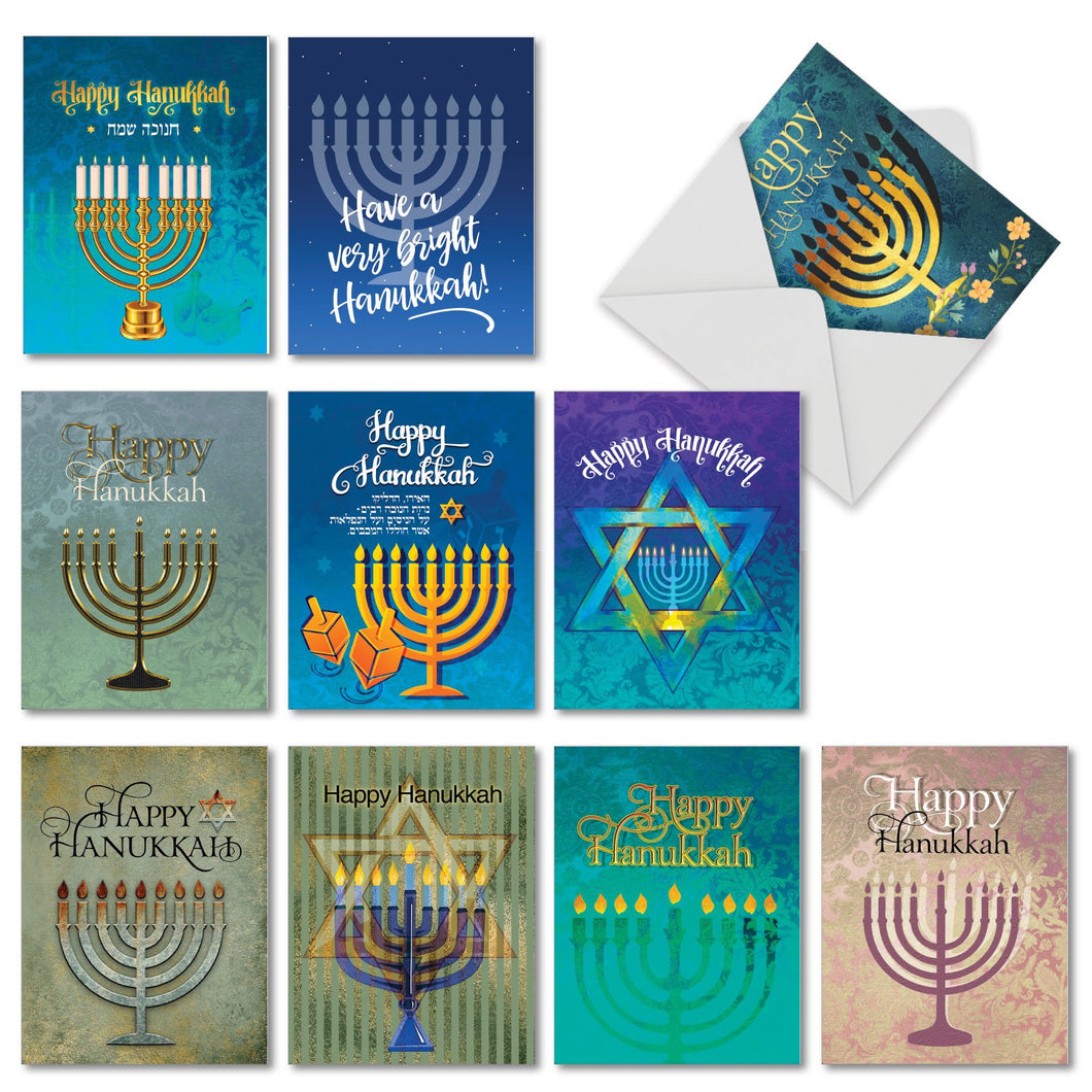 Hanukkah Lights Greeting Cards with Envelopes - 4