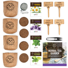 Load image into Gallery viewer, Indoor Organic Herb Garden Seed Starter Kit - Seeds, Soil, Plant Markers, Planting Pots, Infuser, Planter Box