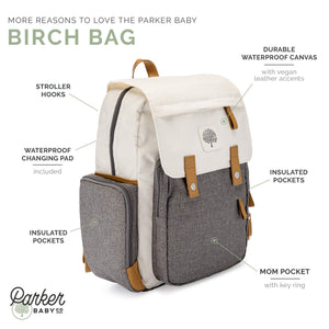Diaper Backpack - Large Diaper Bag with Insulated Pockets, Stroller Straps and Changing Pad