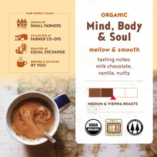 "Load image into Gallery viewer, Equal Exchange Organic Whole Bean ""Mind Body Soul"" Coffee, 12-Ounce Bag"