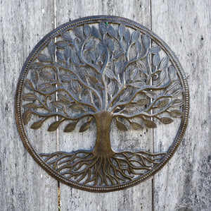 Haitian Recycled Steel Drum Organic Tree of Life 23 x 23 inches Fair Trade