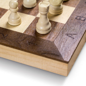 "GrowUpSmart Smart Tactics 16"" Folding Chess Set Made by FSC Certified Wood - Plus Edition with Chess Bag"