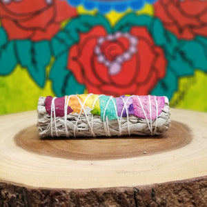 CALIFORNIA WHITE SAGE Smudge Sticks with 7 CHAKRAS (1pc)