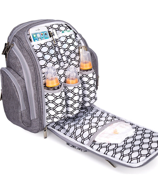 Blissly Diaper Bag Backpack - Knapsack with Foldable Changing Pad and Multiple Insulated Pockets for Storage of Infant Boy, Girl, or Twin Essentials - Stylish Unisex Design for Mom and Dad - Gray