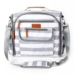 Blissly Convertible Diaper Bag - Large Travel Backpack, Sling, Stroller Tote - Changing Pad, Insulated Bottle Compartments, Wipes Pocket, Straps - Durable Waterproof Interior Lining - Gray Stripe