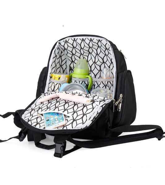 Blissly Diaper Bag Backpack - Knapsack with Foldable Changing Pad and Multiple Insulated Pockets for Storage of Infant Boy, Girl, or Twin Essentials - Stylish Unisex Design for Mom and Dad - Black