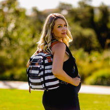 Blissly Convertible Diaper Bag - Large Travel Backpack, Sling, Stroller Tote - Changing Pad, Insulated Bottle Compartments, Wipes Pocket, Straps - Durable Waterproof Interior Lining - Black Stripe