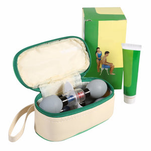 Silver Magnetic Therapy Vacuum Cupping Set with Conductive Cream