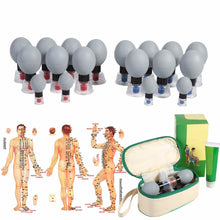Load image into Gallery viewer, Silver Magnetic Therapy Vacuum Cupping Set with Conductive Cream