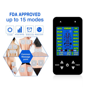 FDA approved 15 mode EMS/TENS combination digital unit with electrode pads