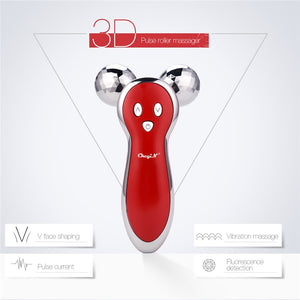 Micro Current 3D V Shape Face Ball Roller for Facial Lifting, Firming, Tightening, Wrinkle Removal