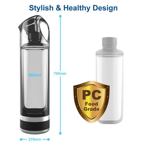 PEM Portable Hydrogen Rich Water Generator Bottle for Pure Electrolysis (500ml) by ALTHY