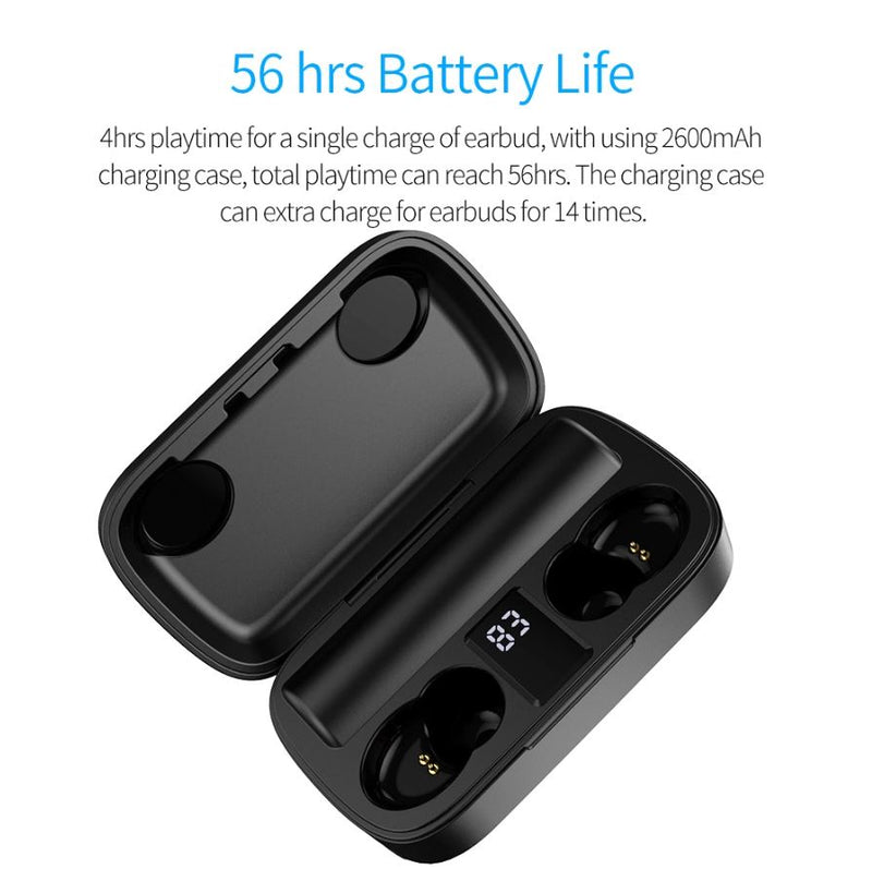 Bluetooth Headphones with Charging Case & Power Bank Feature