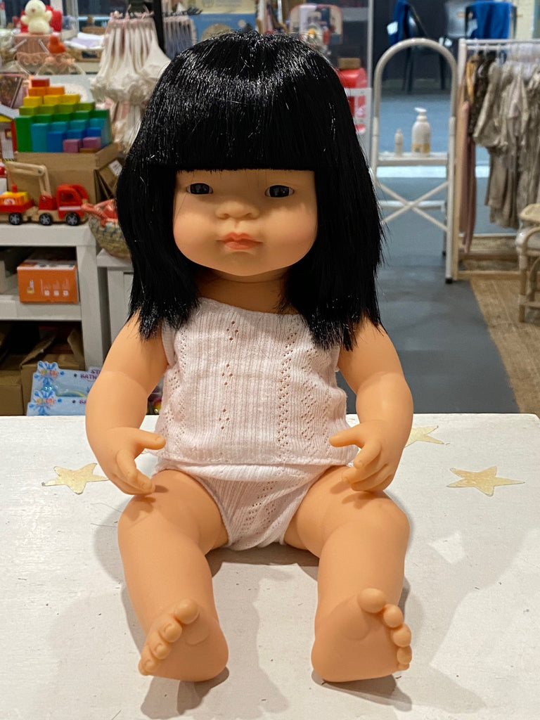 Miniland Doll - Anatomically Correct Asian Baby Girl 38cm (Unboxed - underwear set included)