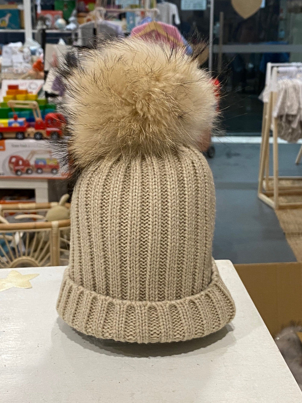 Malla Beanie with single pom pom (beige) - Mummy & Me available