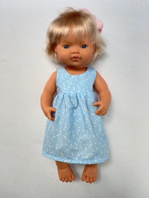 Sky blue white floral doll's dress