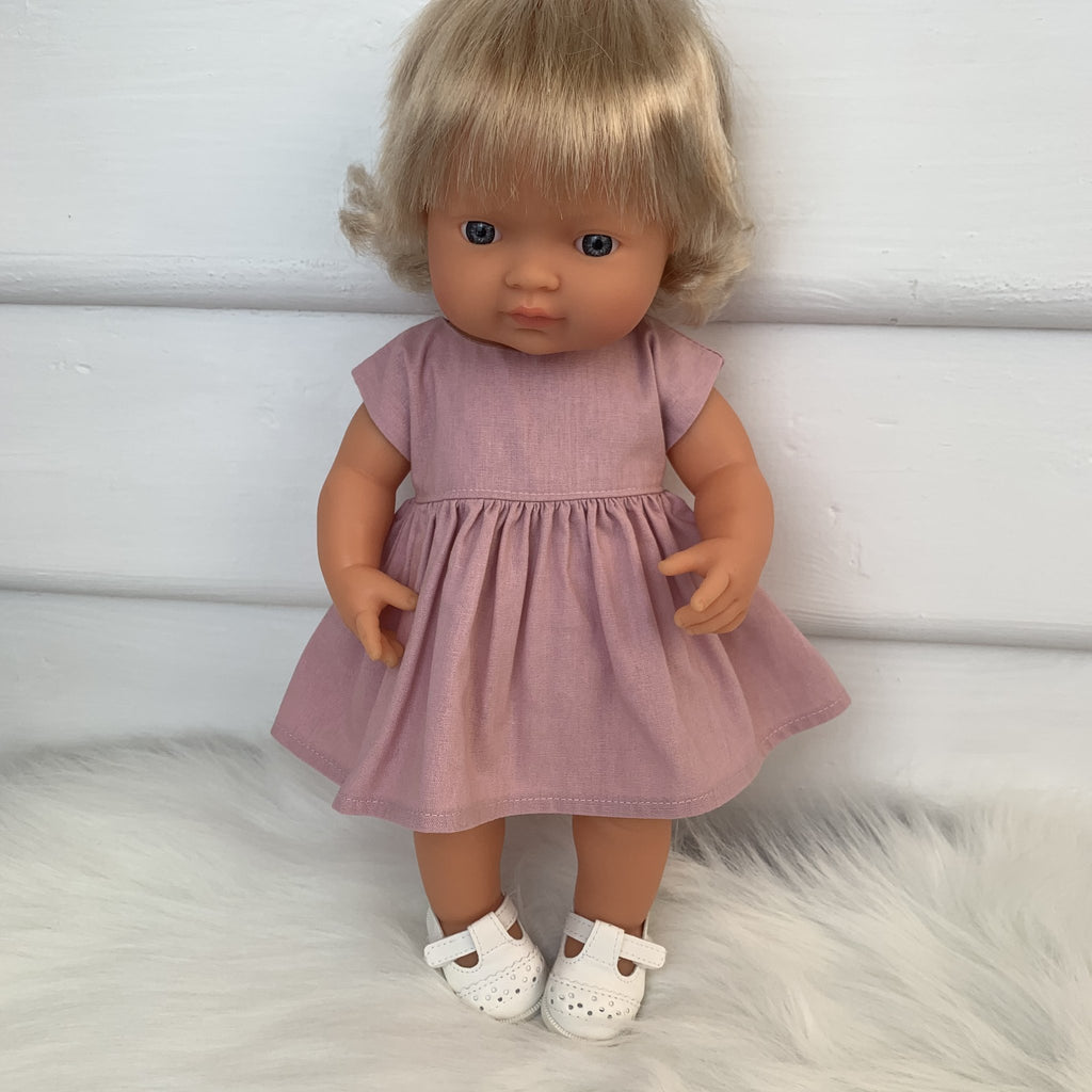 Dusky Pink Doll's Dress/Headband Set
