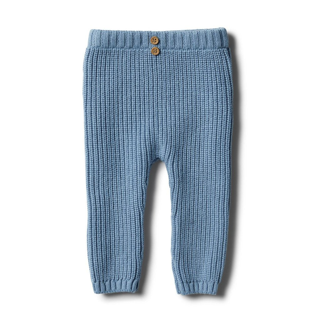 Faded denim knit rib legging