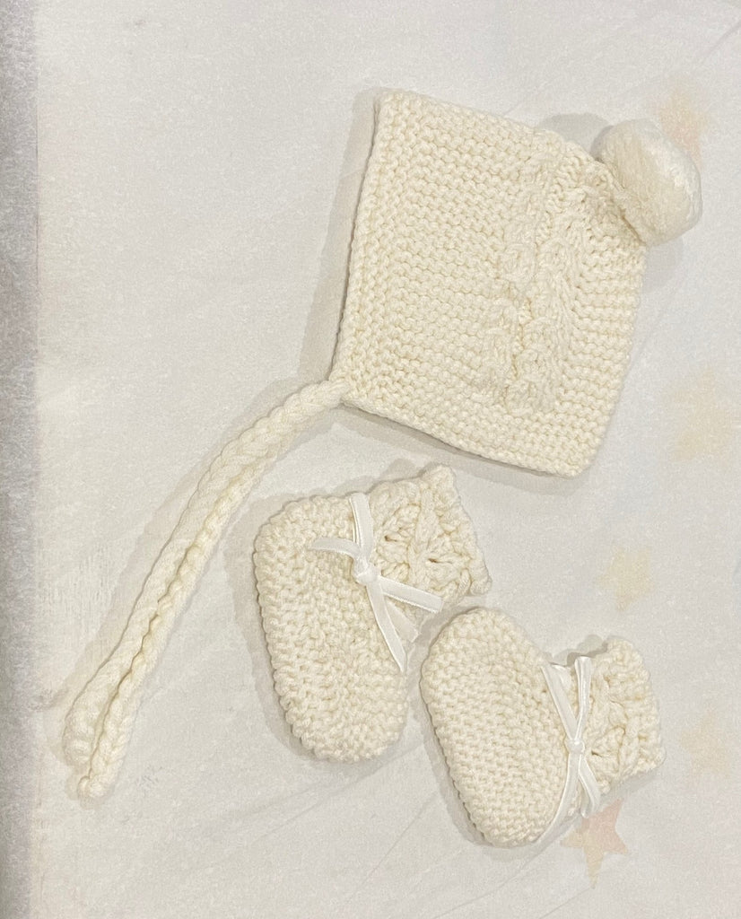 Baby beanie and bootie - cream
