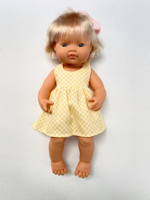 Lemon gingham doll's dress