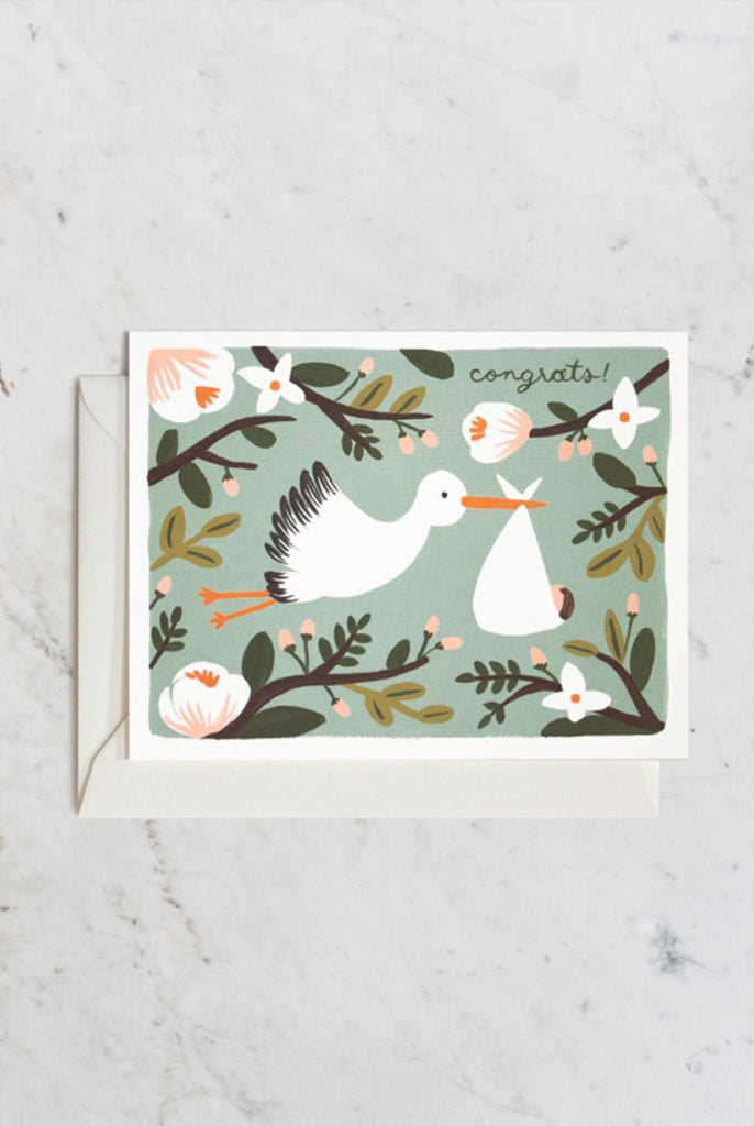 Rifle Paper Co - Single Card - Congratulations Stork