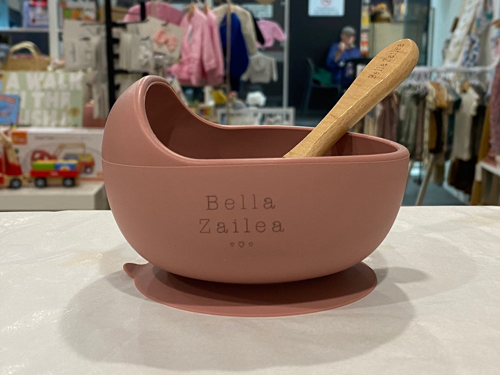 Silicone suction bowl & spoon - dusty rose