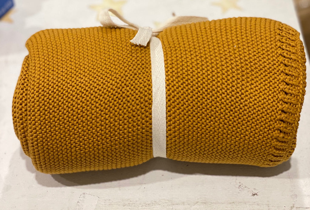 Organic Cotton Cable Knit Blanket (Mustard)