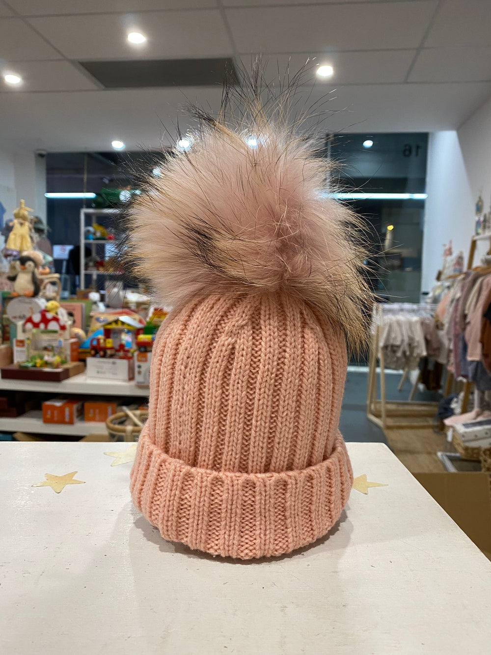Malla Beanie with single pom pom (pink)  - Mummy & Me available