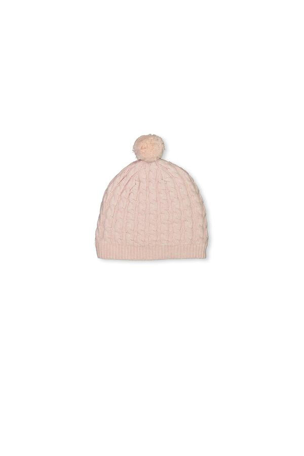 Cable beanie - baby pink