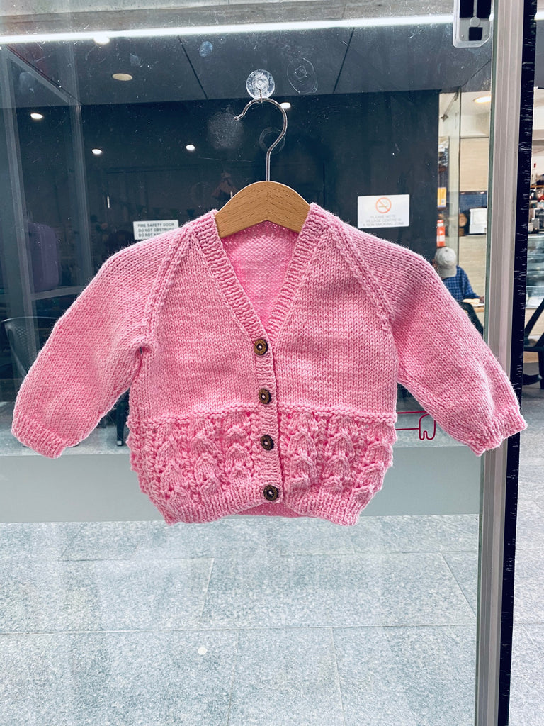 100% luxury wool cardigan 6-18 months baby blossom