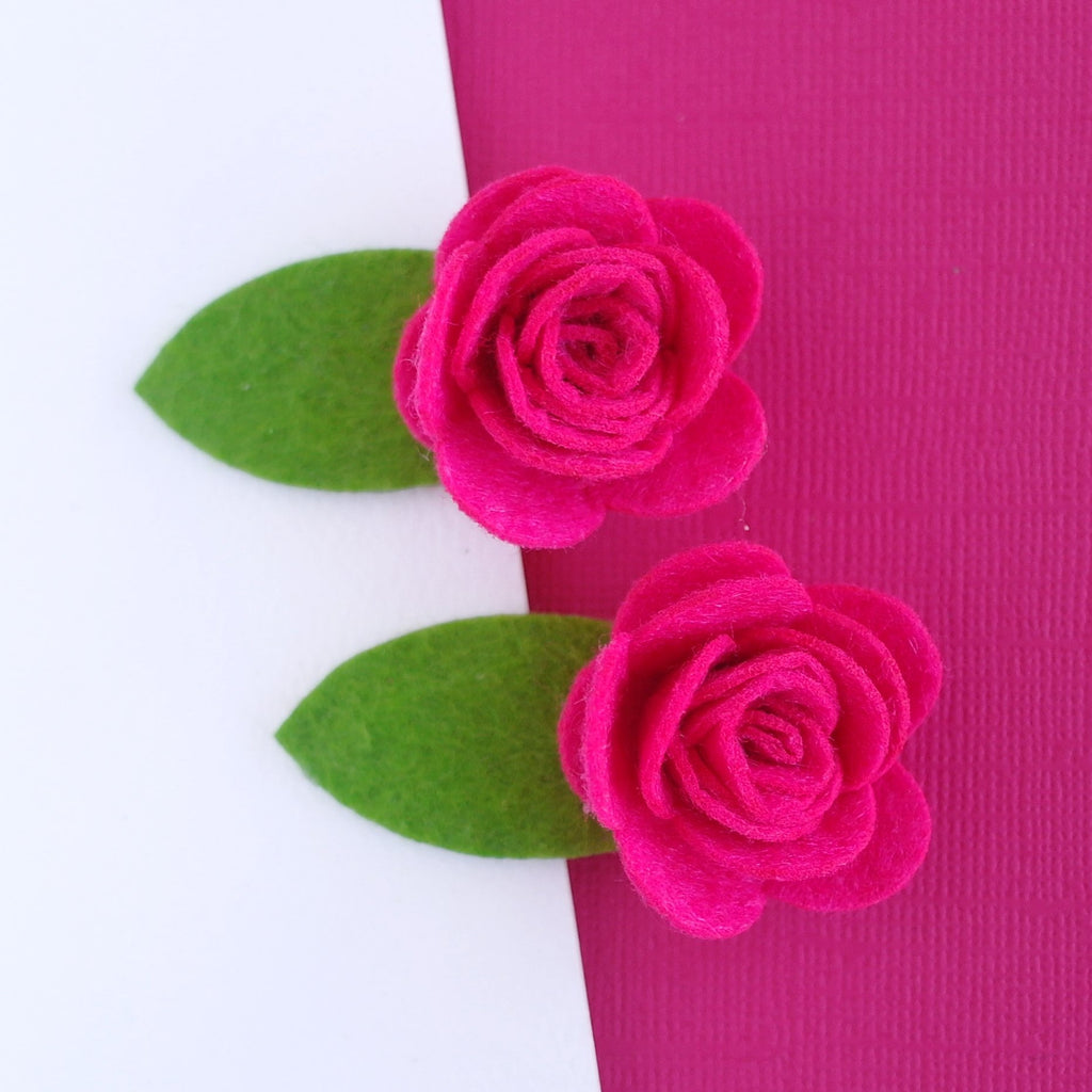 Hot Pink Felt Rose Clip