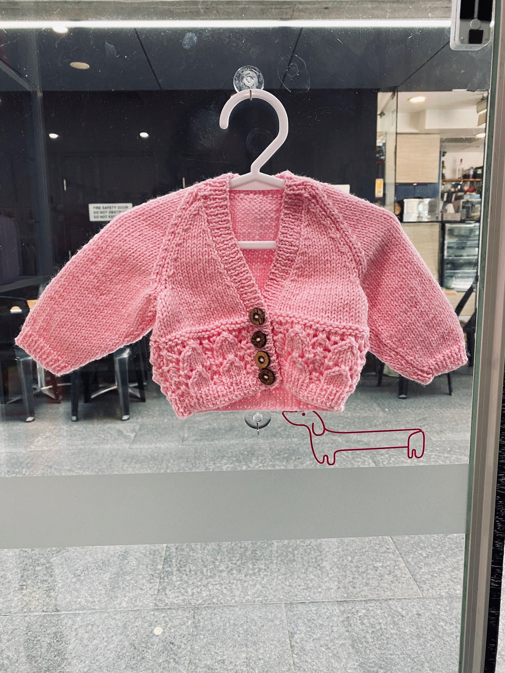 100% luxury wool handknit newborn cardie in baby blossom