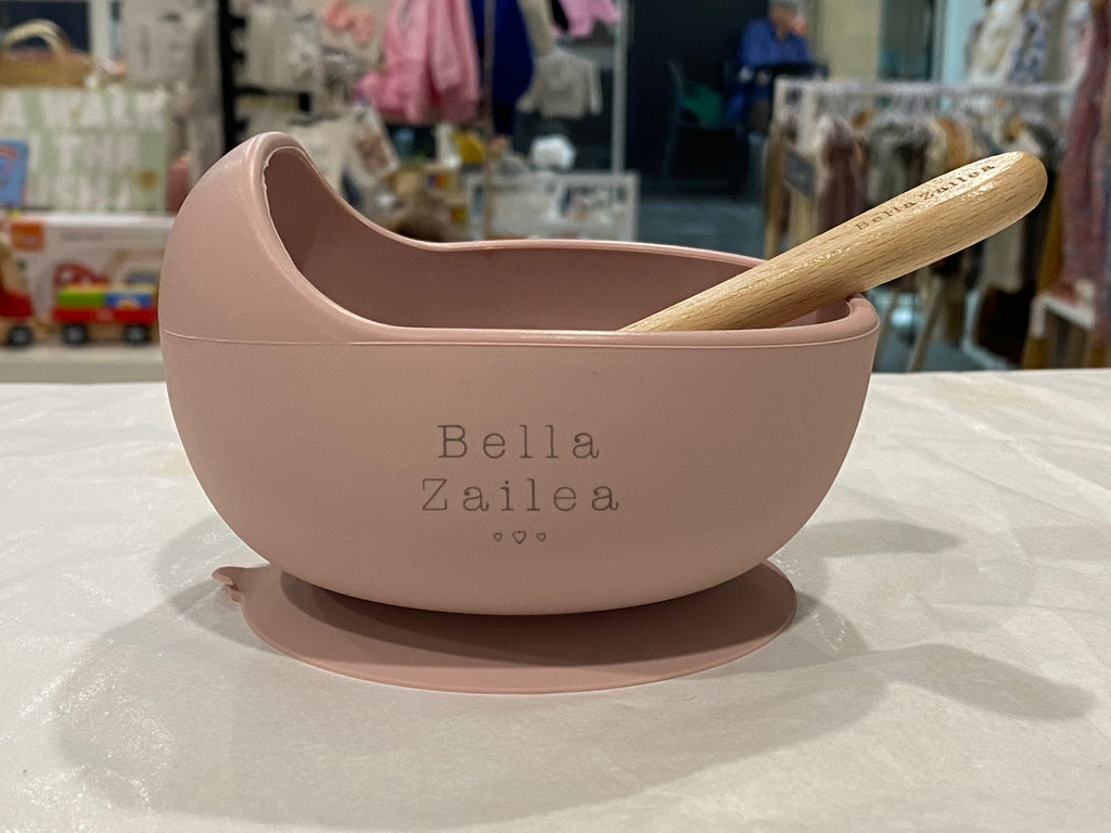 Silicone suction bowl & spoon - dusty pink