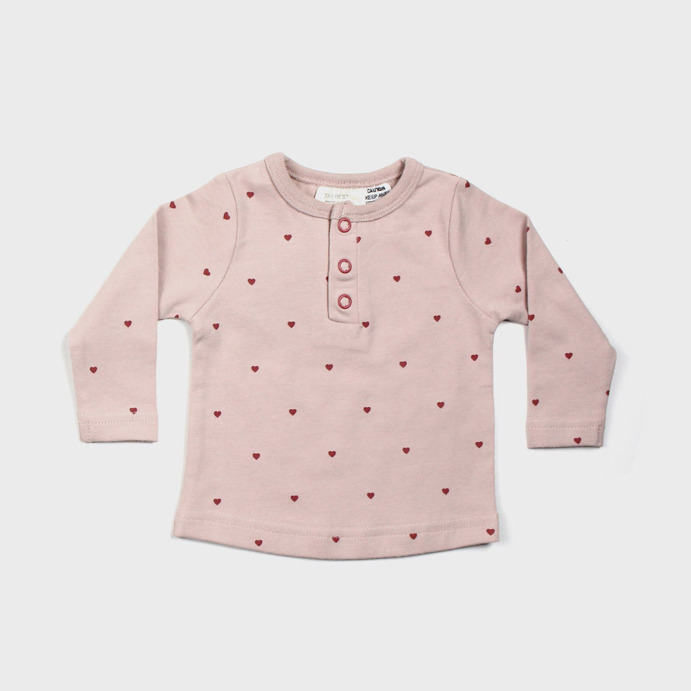 Long sleeve henley  top - Young Hearts