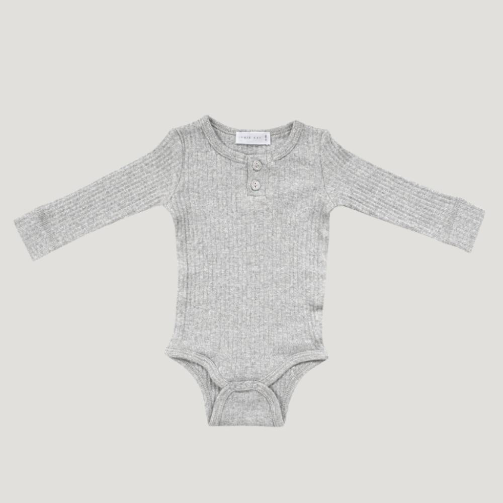 Organic Cotton Ribbed Bodysuit - Light Grey Marle