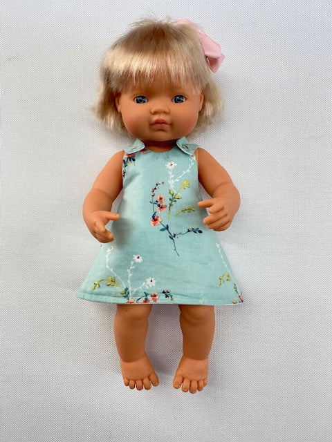 Liberty print - teal floral dress and bloomer set