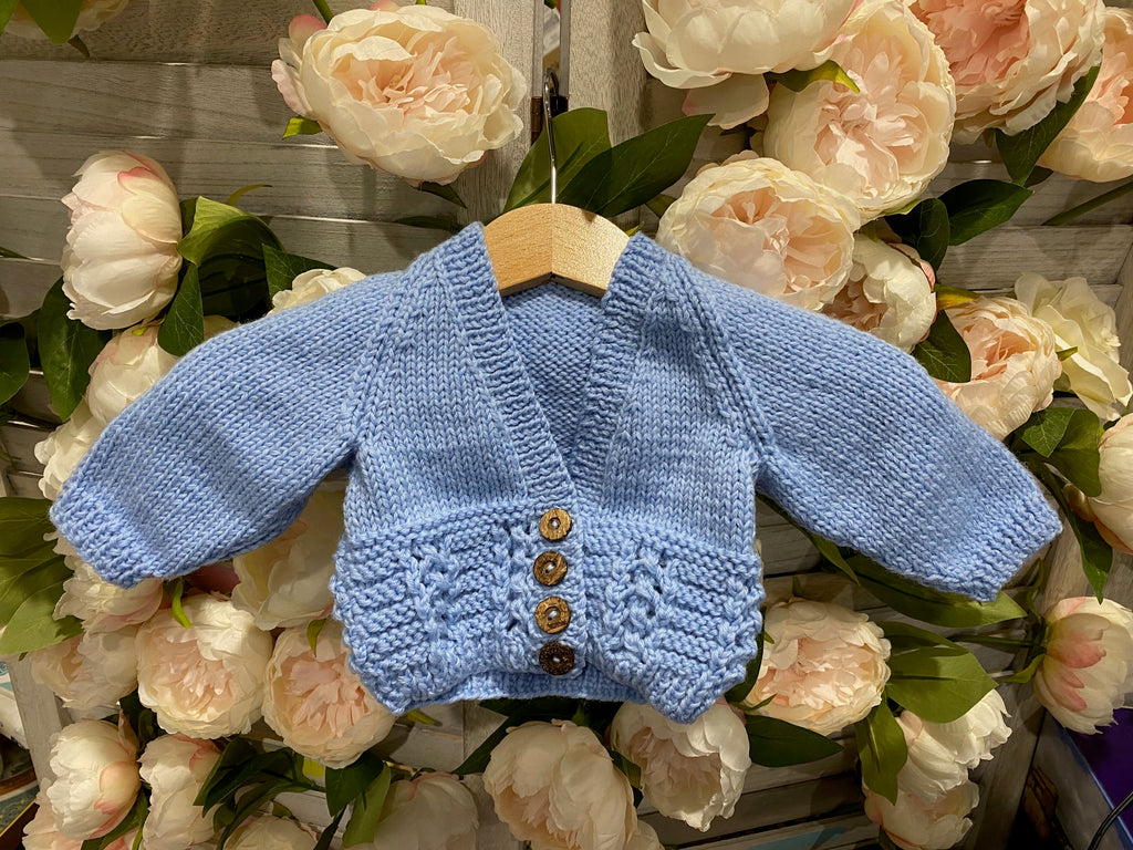 100% luxury wool handknit newborn cardie in baby blue