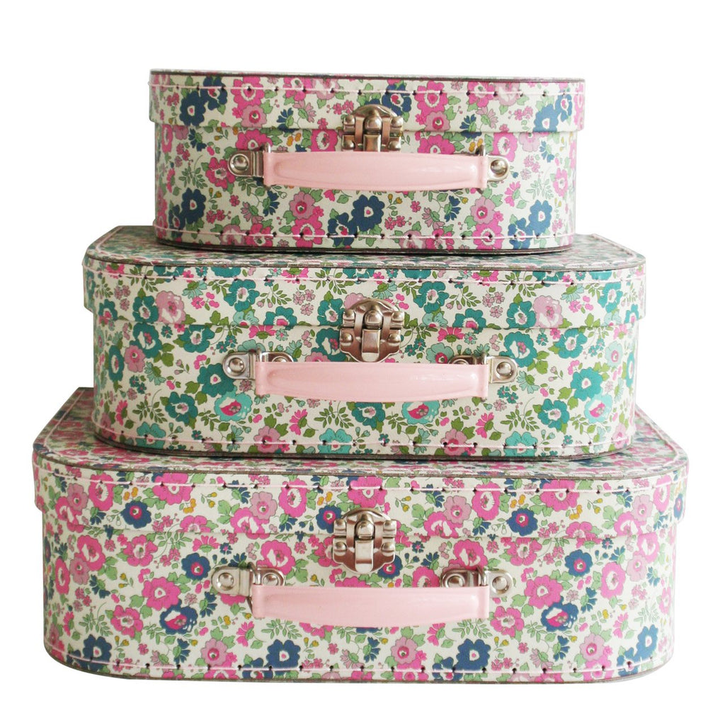 Kids Carry Cases (Small, Medium and Large)  - Petit Floral Teal Pink