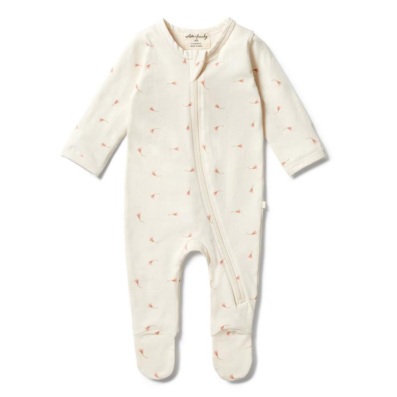 Organic Zipsuit with Feet - Little Blossom