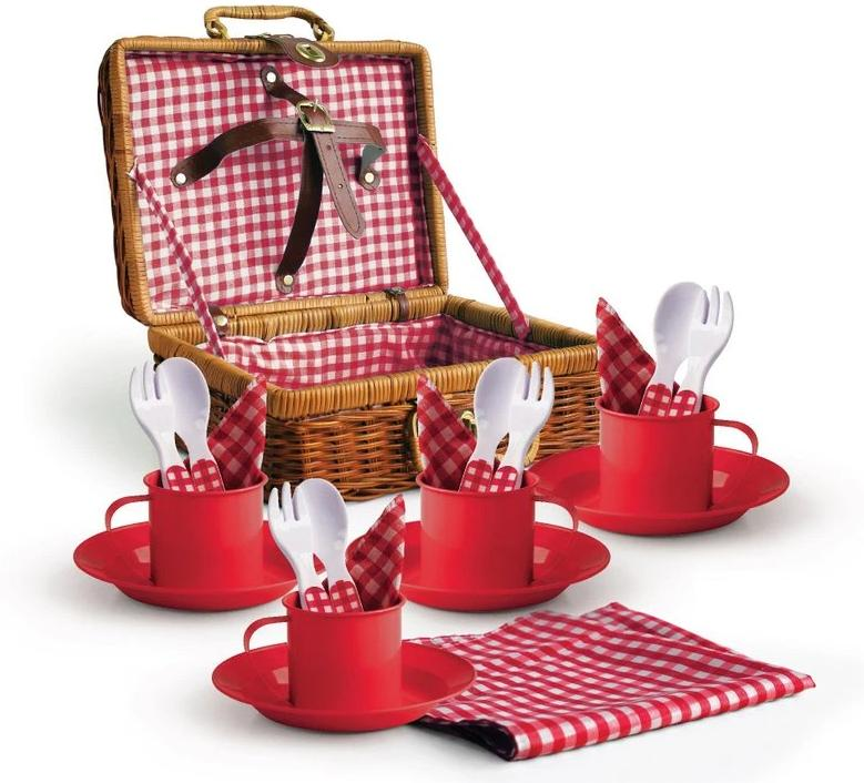 1 picnic basket set red new large case