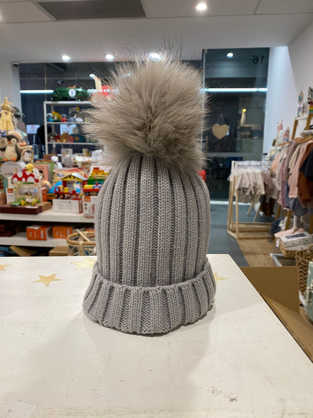 Malla Beanie with single pom pom (grey)  - Mummy & Me available