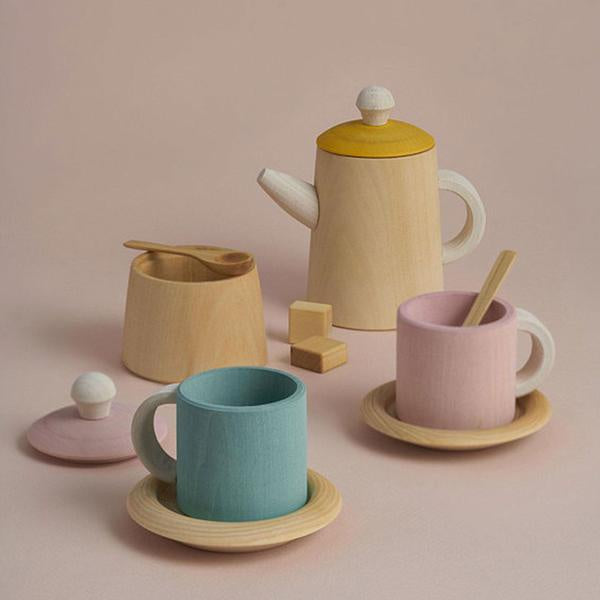 Tea set mustard and pink