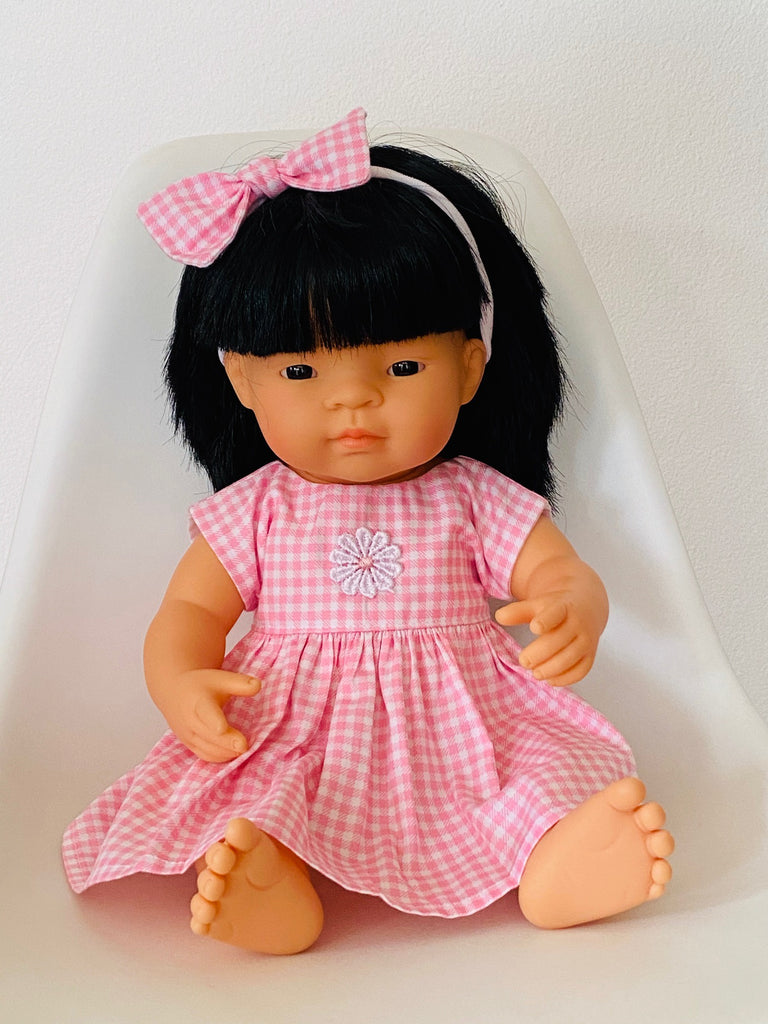 Pink check white flower Doll's Dress/Headband Set